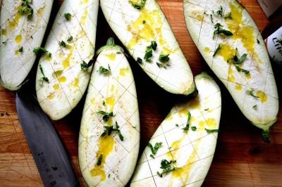 """Aubergine """"kødboller"""" med Mozzarella"""