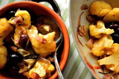 Blomkål med oliven og rigatino