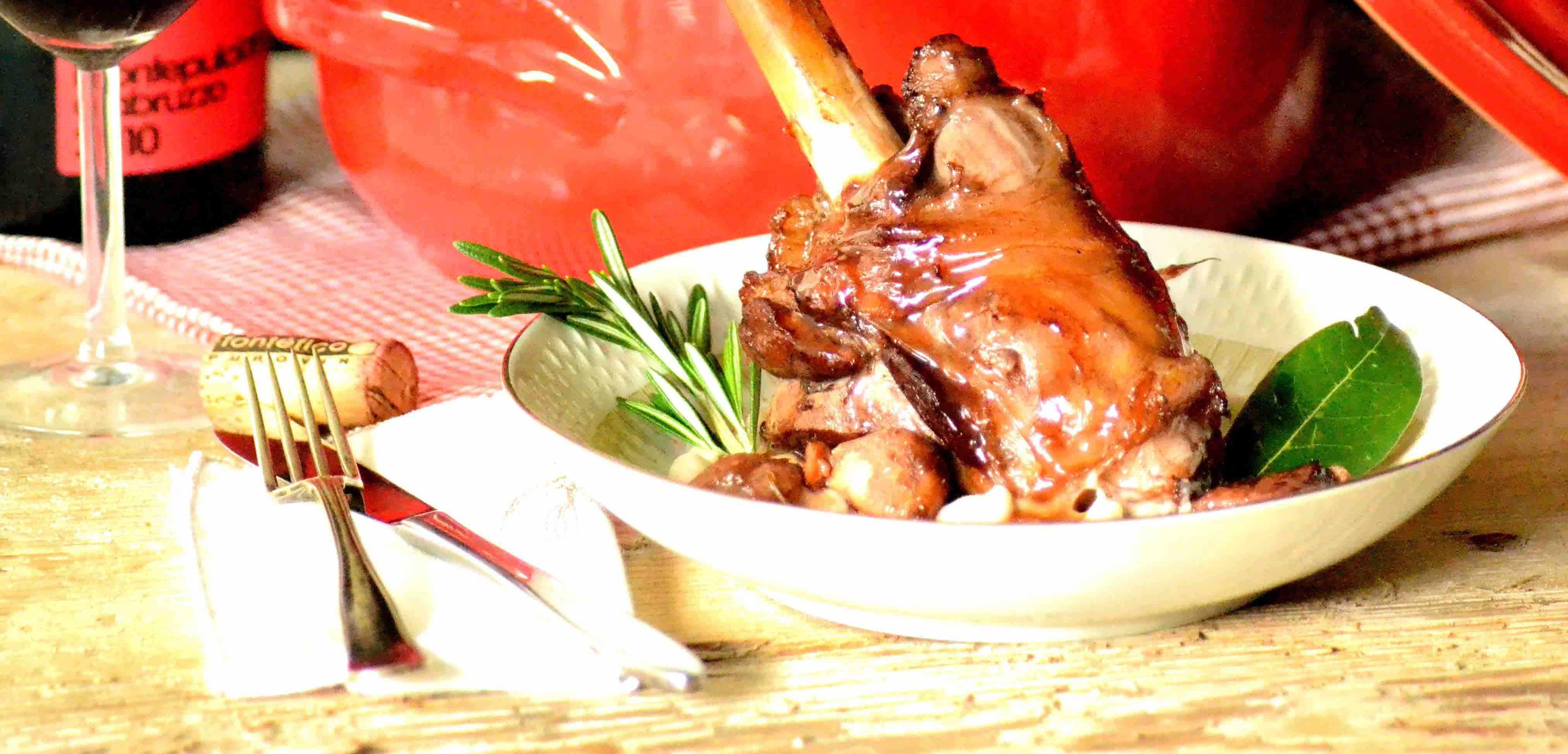 Ovnstegt lammeskank med eddieke og honning