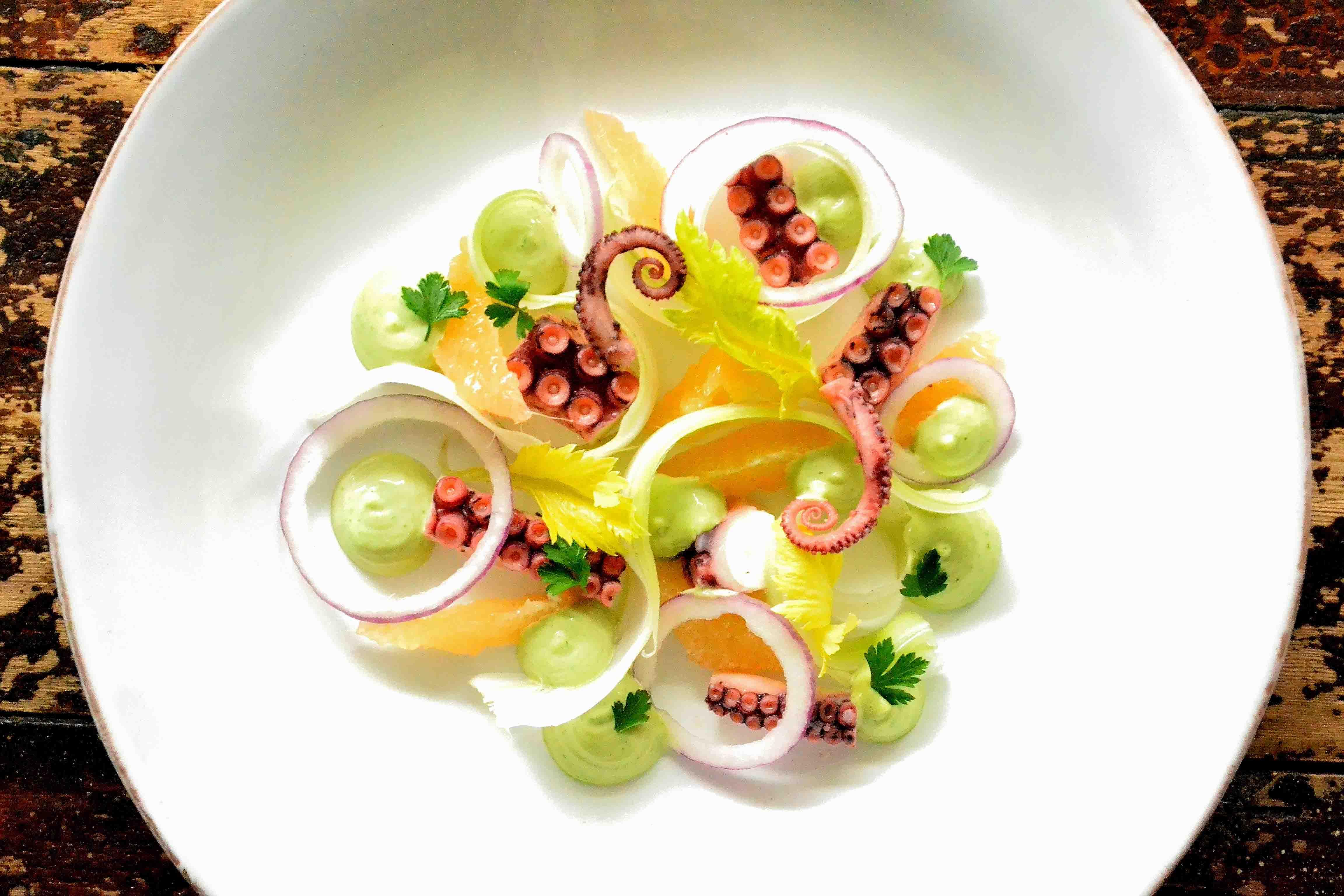 Blæksprutte-salat med grapefrugt