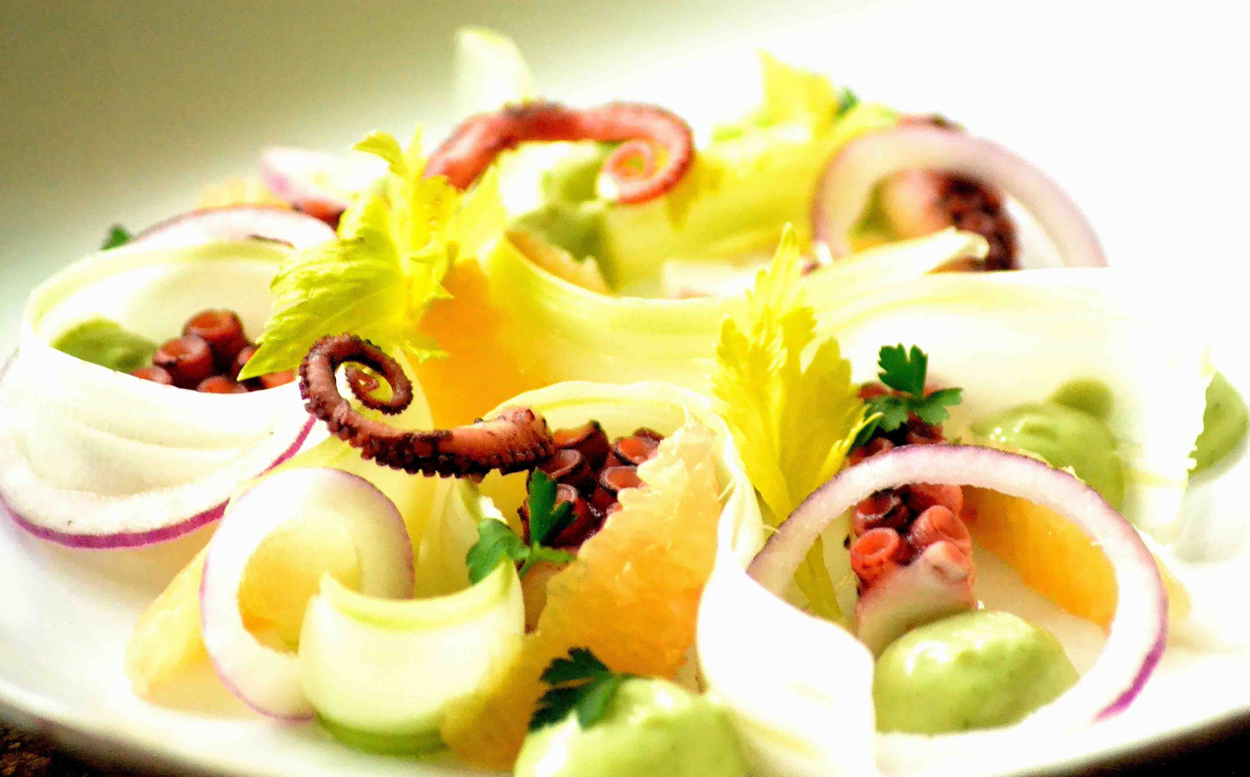 Blæksprutte salat in rjk